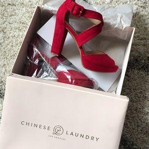 NIB Chinese Laundry Cherry Red Block Heels